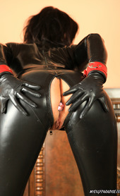Alfa in Latex suit masturbate with ButtPlug