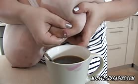 Roxanne Miller Put boobs-milk in coffee